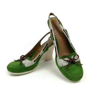Coach Athena Green Suede Leather Boat Shoe Style 8